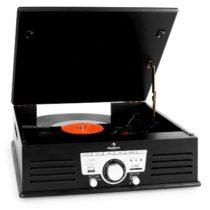 Auna 77-92B gramofón, USB, SD, AUX, FM, čierny