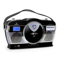 Auna RCD-70BL, retro rádio, FM, USB, CD, MP3, batéria, čierne