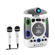Auna KaraProjectura karaoke zariadenie s projektorom, LED svetelná show, USB, biela farba