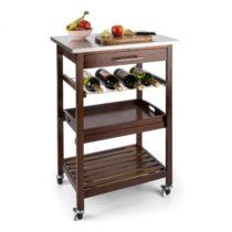 Klarstein Vermont kuchynský vozíček, jedálenský vozíček, zásuvka, polička na víno, ušľachtilá oceľ