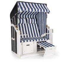 Blumfeldt Hiddensee, plážové sedenie, plážový kôš XL, dvojsedadlo, ležadlo, borovica, modré/biele, p...