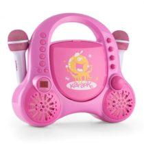 Auna Rockpocket-A PK detský karaoke systém CD AUX 2x mikrofón nabíjacia batéria ružová farba