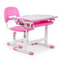 OneConcept Annika detský písací stôl, dvojdielna sada, stôl, stolička, výškovo nastaviteľné, ružová