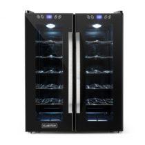 Klarstein SaloonNapa chladnička na víno, objem 67 litrov, 2 presklené dvere, 11-18°C, čierna farba