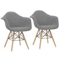 OneConcept Visconti stolička, 2-dielna sada, polstrovaná PP-konštrukcia, čierna farba