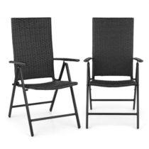 Blumfeldt Estoril, záhradná stolička, polyratan, hliník, 7 úrovní, skladacia, čierna
