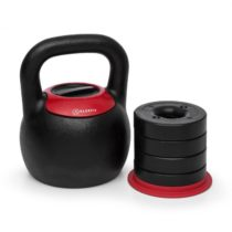 KLARFIT Adjustabell, nastaviteľný kettlebell, hmotnosť: 8/10/12/14/16 kg, čierny/červený