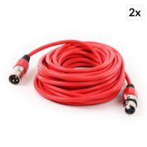 FrontStage 2x XLR-kábel samec k samici, červený, 10m