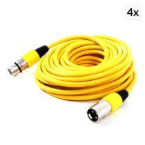 FrontStage Sada XLR káblov, 4 ks, 10 m, samček - samička, žltá farba