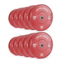 Capital Sports Nipton Bumper Plates, červené, 5 párov, 25 kg, tvrdá guma