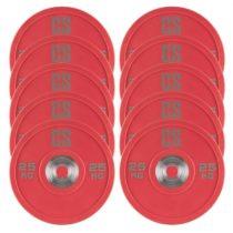 Capital Sports Performan Urethane Plates, činkové kotúče, 5 párov, 25 kg, červená farba