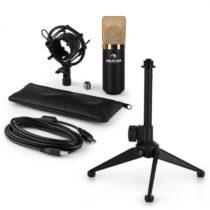 Auna MIC-900BG-LED V1, USB mikrofónová sada, čierno-zlatý kondenzátorový mikrofón + stolný statív