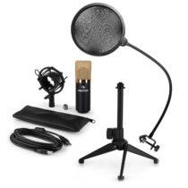 Auna MIC-900BG-LED V2, trojdielna USB mikrofónová sada, kondenzátorový mikrofón + pop-filter + stoln...