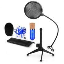 Auna CM001BG mikrofónová sada V2 - kondenzátorový mikrofón, mikrofónový stojan, pop filter, modrá fa...