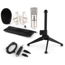 Auna CM001S mikrofónová sada V1, kondenzátorový mikrofón, USB-adaptér, mikrofónový stojan, strieborn...