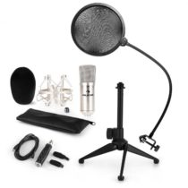 Auna CM001S mikrofónová sada V2, kondenzátorový mikrofón, USB-adaptér, mikrofónový stojan, strieborn...