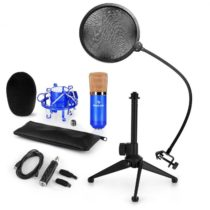 Auna CM001BG mikrofónová sada V2, kondenzátorový mikrofón, USB-adaptér, mikrofónový stojan, modrá fa...