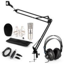 Auna CM001S mikrofónová sada V3 slúchadlá, kondenzátorový mikrofón, USB adaptér, mikrofónové rameno,...