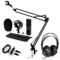 Auna CM001B mikrofónová sada V3 slúchadlá, kondenzátorový mikrofón, USB adaptér, mikrofónové rameno,...