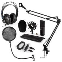 Auna CM001B mikrofónová sada V4 slúchadlá, kondenzátorový mikrofón, USB adaptér, mikrofónové rameno,...