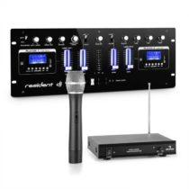 Resident DJ DJ405USB-BK, 4-kanálový DJ mixážny pult, vrátane 1-kanálovej VHF bezdrôtovej mikrofónove...