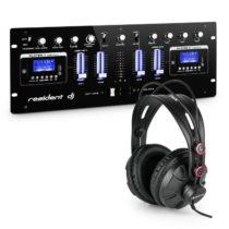 Resident DJ DJ405USB-BK 4-kanálový DJ mixážny pult vrátane štúdiových slúchadiel