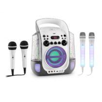 Auna Kara Liquida sivá farba + Dazzl mikrofónová sada, karaoke zariadenie, mikrofón, LED osvetlenie