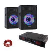 LED12BT, DJ PA sada, 2 x PA reproduktor Fenton, HiFi zosilňovač Skytec, reproduktorový kábel