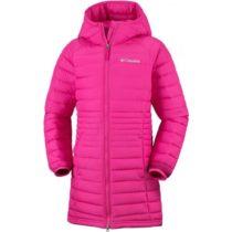 Columbia POWDER LITE GIRLS MID JACKET ružová M - Dievčenský kabát