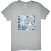Converse LINEAR FLORAL BOX STAR VNECK TEE sivá M - Dámske tričko