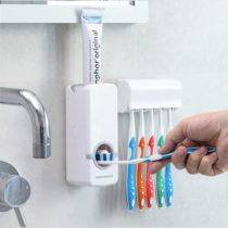Dávkovač zubnej pasty s držiakom na kefky