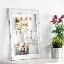 Drevený fotorámček so štipcami