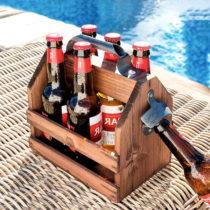 Drevený retro stojan na fľaše s otváračom