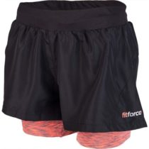 Fitforce 2V1 NOTY ružová XL - Dámske  fitness šortky