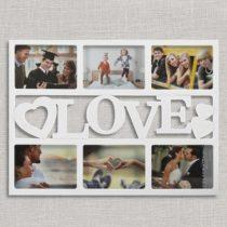 Fotorámček Love - biely (6 fotografií)