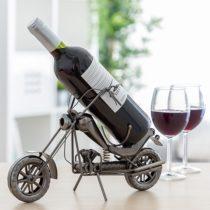Kovový stojan na víno motorka Chopper