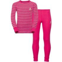 Odlo WARM KIDS SHIRT L/S + PANTS ružová 128 - Detský funkčný set