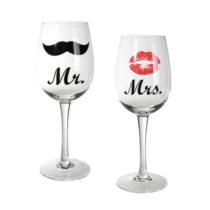 Poháre na víno Mr a Mrs