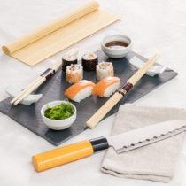 Set na sushi s bridlicovým podnosom a nožom (9 častí)