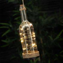 Sklenená dekoračná fľaša s LED svetlami