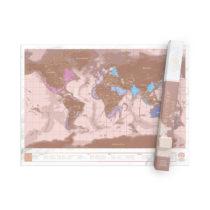 Stieracia mapa sveta - ružovo zlatá