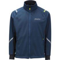 Swix JR CROSS CURVED modrá 116 - Detská športová softhellová bunda