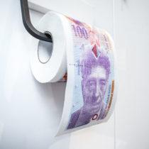 Toaletný papier 100 švajčiarskych frankov