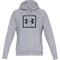 Under Armour RIVAL FLEECE BOX LOGO HOODIE sivá S - Pánska mikina