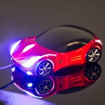 USB optická myška v tvare auta - červená